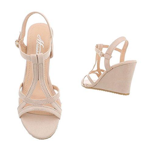 266 Compensé Femme Compensees Beige Design Chaussures Ital 7 Sandales Sandales IT8Anxg