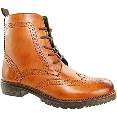 d972f89d Adesso Women's Vicky Tan Leather Brogue Style High Top Ankle Boot UK 8 - EU  41