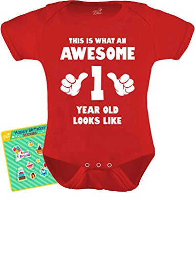 TeeStars - This is What an Awesome One Year Old Looks Like Funny Baby Bodysuit 12M Red