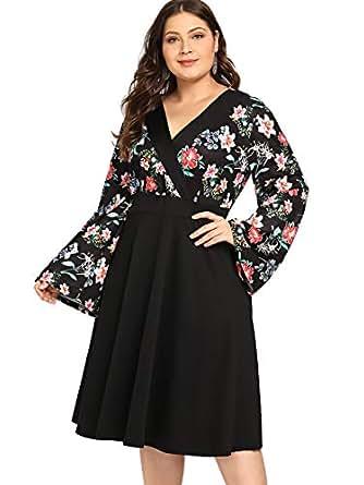 Milumia Long Sleeves Wrap Plus Size Midi Wrap Dress Evening Floral Print Black Skirts Kimono Dress 1X