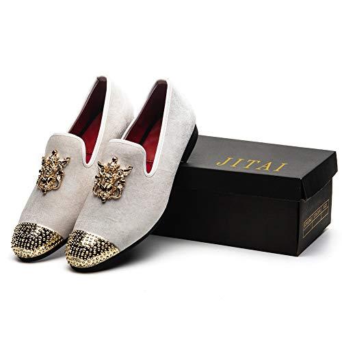 In Pelle Vera Jitai Slip on Uomo Glitter Da Bianco Metallizzato Strutturato Loafer w51xg