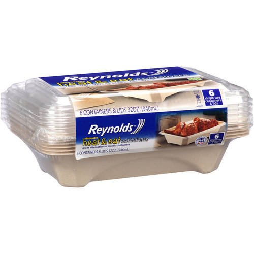 - Reynolds Heat & Eat Disposable Food Containers (32 Oz, 6 Count)