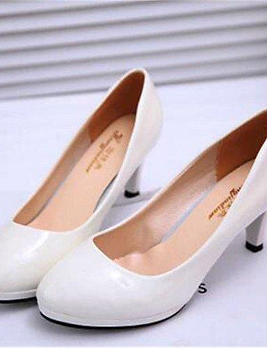 Uk4 Uk3 us6 Blanco tacones White Zq Mujer Eu37 semicuero tac¨®n Zapatos oficina White Y Cn37 Kitten 5 negro Trabajo 7 5 Eu35 Cn34 tacones De Vestido 5 us5 qHZwHAF