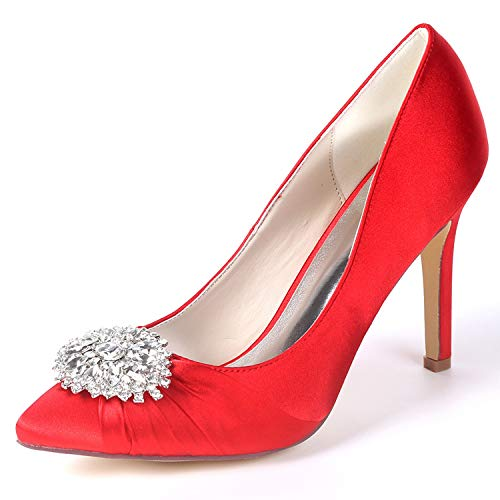5cm Classic Spring White L Platform Spool Red Shoes Heels Party YC Satin Women FY060 9 Wedding qw8qCpH