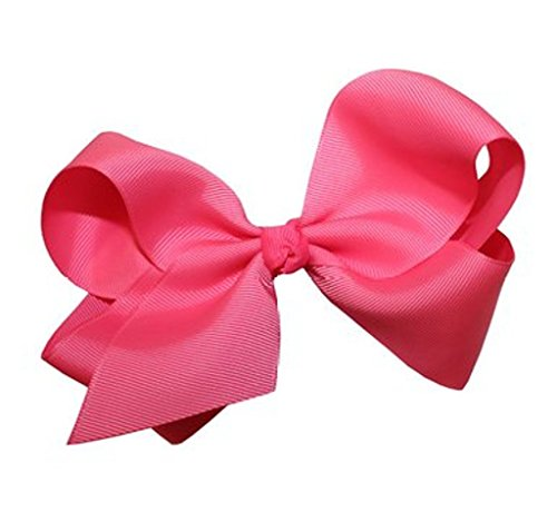Pink Fashion Alligator (Beautiful Handmade Variety of Bright Colors Grosgrain Ribbon Bows with Alligator Clip (Hot Pink))