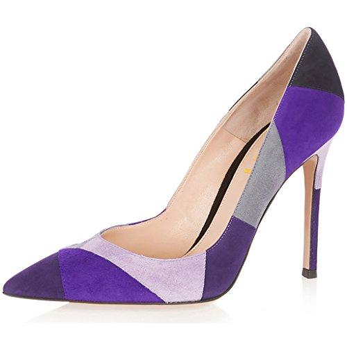 Women's High Heel Stiletto Pointed Toe Pumps (Purple) - 9