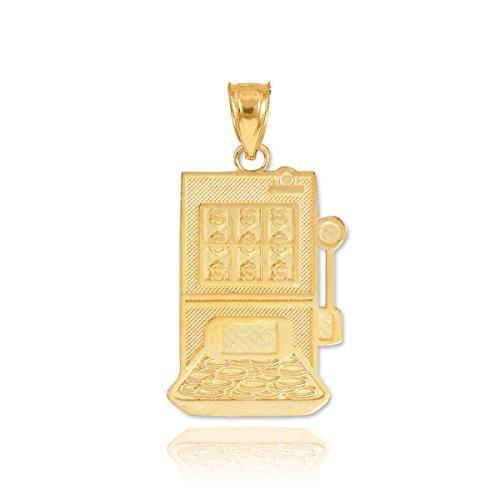 (Fine 10k Yellow Gold Casino Slot Machine Charm Pendant)