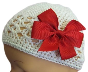 Funny Girl Designs 3 Inch Simple Bow Crochet Baby Hat (Newborn - 9 Months, White Hat with Red Bow)