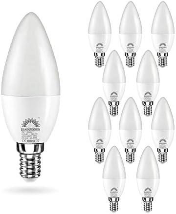 Pack de 10 Bombillas LED E14 Bajo Consumo CHILE C37 · Lámpara LED 6W con 510 Lm · 6000K Blanco Frío · Medidas: 37mm Ø x 105mm * INCLUYE 1 BOMBILLA DE