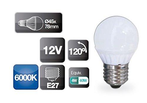 Bombilla de led 12V 4W E27 esférica 6000K 320 lm GSC 2002323: Amazon.es: Iluminación