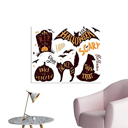 J Chief Sky Vintage Halloween Poster Print Halloween Symbols Trick or Treat Bat Tombstone Ghost Candy Scary Wall Decals for Kids W36 xL32 -