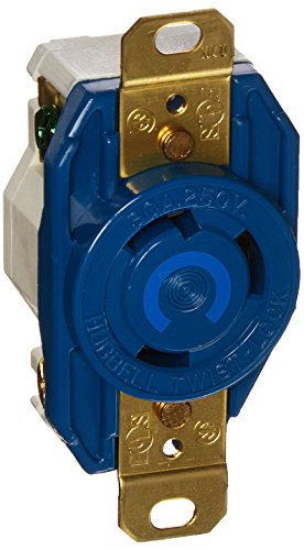 Hubbell HBL2620M6 Locking Receptacle, 30 amp, 250V, L6-30R, (30r Locking Flush Receptacle)