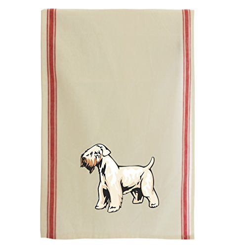 (Irish Soft Coated Wheaten Terrier Cotton Retro Stripe Dish Kitchen Towel Red Stripe)