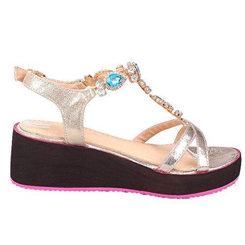 AIYOUMEI Damen T-spangen Plateau Keilabsatz Sandalen mit Strass und 5cm Absatz Elegant Bequem Schuhe Gold