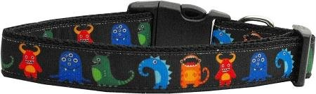 Mirage Pet Products Black Monsters Nylon Collar for Pet, Medium