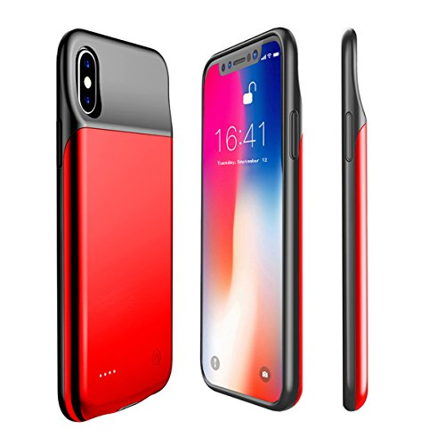 iPhone X Battery Case Support Lightning Wired Headphones, A-TION 3200mAh Rechargeable Portable Protective Backup Charging Case for iPhone X / 10-Extended Battery Charger Case (Red)
