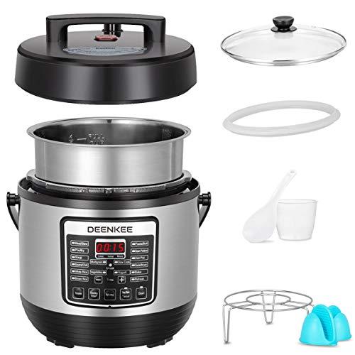 DEENKEE 10-in-1 Multi-Function Pressure Cooker 6 Quart, Instant Programmable for Rice Cooker, Steamer, Egg Cooker, Slow Cooker, Yogurt Maker, Hot Pot, Mom Christmas Gifts in 2-Year Warranty