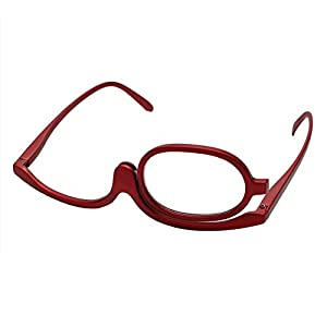 CHBC Magnifying Glasses Makeup Reading Glass Folding Eyeglasses Cosmetic +1 to +4.0 (+2.00, Red)