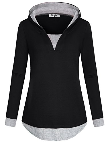 Hibelle Black Hoodie for Women, Oversized Casual Sweatshirt Juniors V Neck Round Bottom Dressy Athleisure Wear Kintted Contrast Color Sweater Pullover Jumper Top Blouses Black XXL