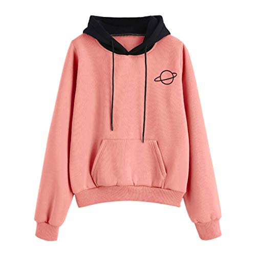 Pullover Sweatshirts for Women Hoodie,Womens Printed Long Sleeve Fashion Pocket Hoodie Pullover with Plus Size