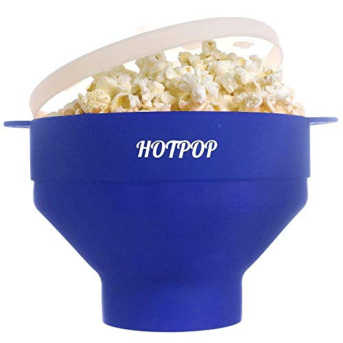 The Original Hotpop Microwave Popcorn Popper, Silicone Popcorn Maker, Collapsible Bowl Bpa Free and Dishwasher Safe (Blue)