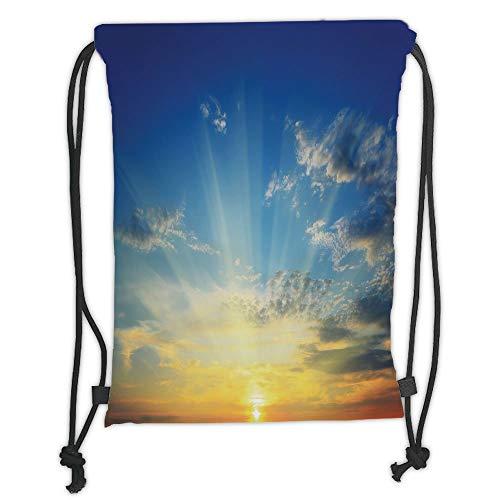 New Fashion Gym Drawstring Backpacks Bags,Yellow and Blue,Beaming