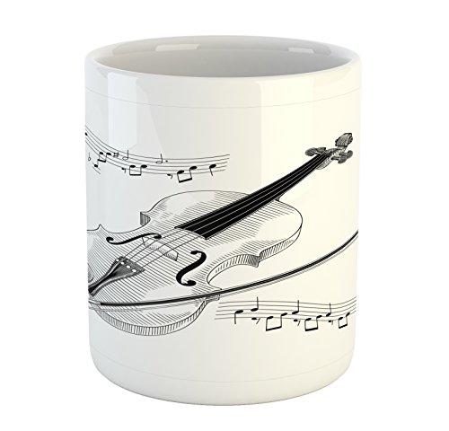 Lunarable Violin Mug, Symphony Classical High Art Music Instrument Performing Cello Orchestra Print, Ceramic Coffee Mug Cup for Water Tea Drinks, 11 oz, Black White