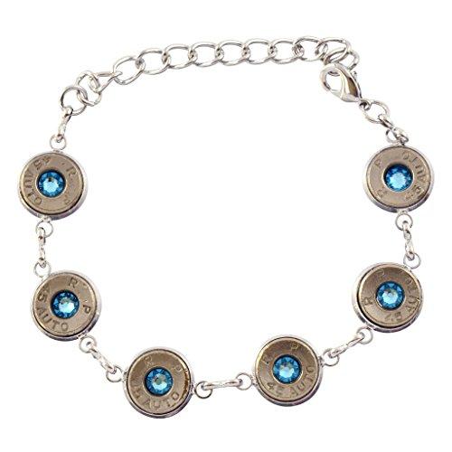 (45 Caliber Bullet Link Bracelet, Silvertone Bracelet with Blue Crystals)