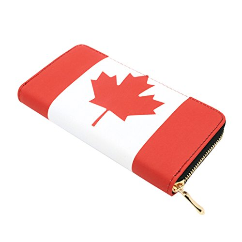 Premium World Country Flag City Print PU Leather Zip Around Wallet, Canada - Prints Canada