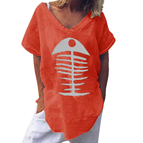 NCCIYAZ Womens T-Shirt Top Fish Bone Print Fashion Plain Loose Ladies Funny Blouse(8,Orange-Vertical)