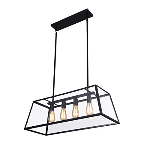 mirrea 4-Light Kitchen Island Pendant Matte Black Shade with Clear Glass Panels Modern Industrial Chandelier for Dinning Room