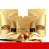 BeesClover 50pcs/lot 20cm30cm+5cm Bottom140mic Kraft Paper Bags Stand Up Paper Bag with Zipper Food Packaging Bags Show
