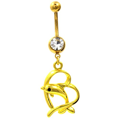 - Gold-Tone Steel Dangling Dolphin & Heart Belly Button Navel Ring Jewelry