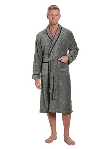 Noble Mount Mens Premium Coral Fleece Plush Spa/Bath Robe - Marl Black/White - 2XL/3XL -
