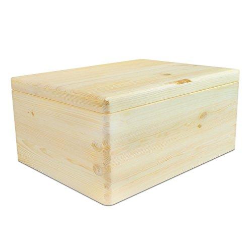 VENKON - Universal Holzkiste mit Deckel für Aufbewahrung - Kiefer naturbelassen unbehandelt - ca. 30 x 20 x 14 cm