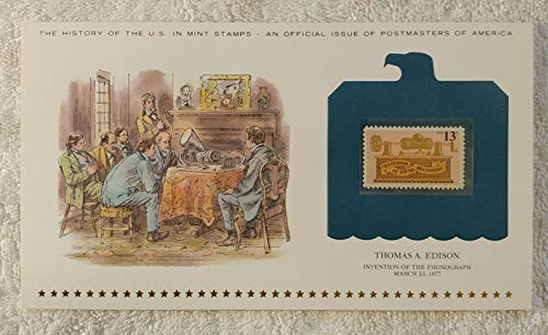 Thomas A. Edison - Invention of the Phonograph - Postage Stamp (1977) & Art Panel - History of the United States: an official issue of Postmasters of America - Limited Edition, 1979 - Inventor, Sound Recording, Audio
