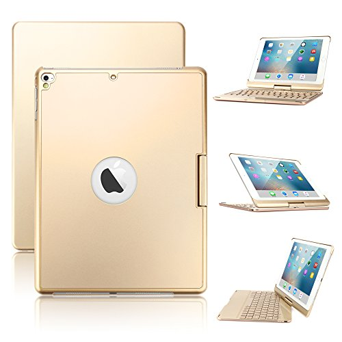 Pro Aluminum Hard Case (New iPad 9.7/iPad Pro 9.7/iPad Air Keyboard Case,Boriyuan 7 Color Backlit Bluetooth Keyboard Case Folio Smart 360 Rotate Stand Keyboard Cover for iPad Air/iPad Air 2,iPad Pro 9.7 and iPad 9.7(Gold))