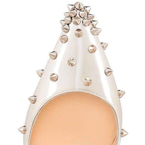 Arc-en-Ciel zapatos de las mujeres del tacón alto de la bomba de pico de oro Silver