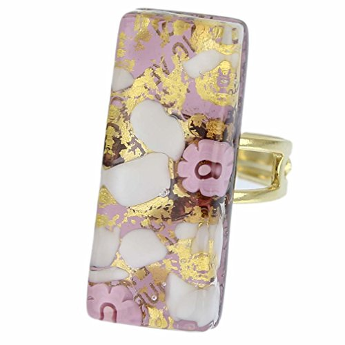- GlassOfVenice Murano Glass Venetian Reflections Rectangular Adjustable Ring - Purple
