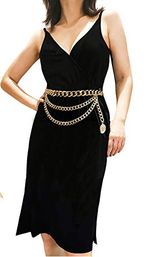 Women Thick Metal Link Waist Chain for Dress Multilayer Tassel Waist Belt Belly Chains Waistbands Body Jewelry