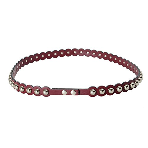 Red Valentino 100% Leather Burgundy Metal Beads Women's Waist Belt Sz M