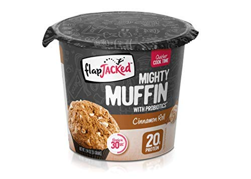 FlapJacked Mighty Muffins, Cinnamon Roll, 12 Pack | 20g Protein + Probiotics ()