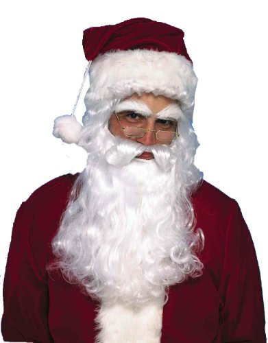 [Forum Novelties Men's Santa Claus Wig and Beard Set, White, One Size] (Synthetic Santa Costumes Beard And Wig Set)