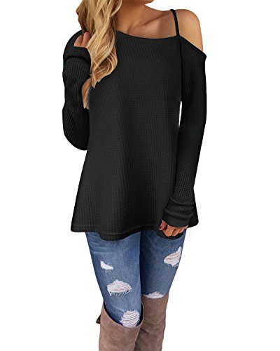 Ineffable Women's Long Sleeve Cold Shoulder Knitted Sweater Split