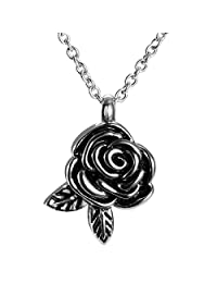 Rose Flower & Leaf Cremation Jewelry Necklaces for Ashes Urn Pendant Memorial Keepsake by AMIST