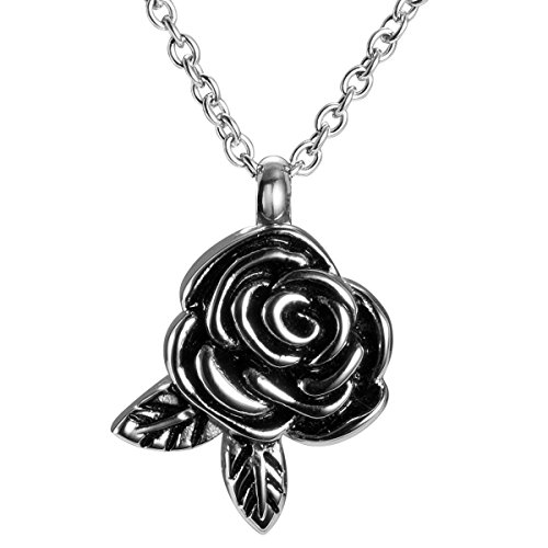 Rose Flower & Leaf Cremation Jewelry Necklaces for Ashes Urn Pendant Memorial Keepsake by AMIST (Jewelry For Cremation Ashes)