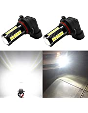 Alla Lighting 9145 H10 LED Fog Light Bulbs 2800 Lumens Xtremely Super Bright 9140 9045 9155 9040 5730 33-SMD 12V PY20D Fog Lights Replacement for Cars, Trucks, 6000K Xenon White