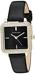 Swarovski Crystal Accented Gold-Tone & Black Leather Strap Watch