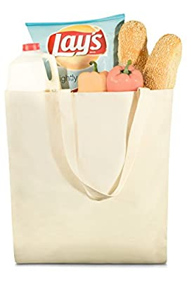"""Grocery Canvas Bag - 19"""" x 15"""" - Double stitched for durability and two sturdy shoulder straps to handle heavy groceries. Canvas tote grocery bags make an eco friendly solution for grocery shopping."""