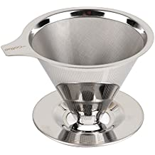 HiCollie Paperless Pour Over Coffee Dripper/Drip - Stainless Steel Double Mesh Reusable Coffee Filter/Stand/Pot and Single Cup Coffee maker